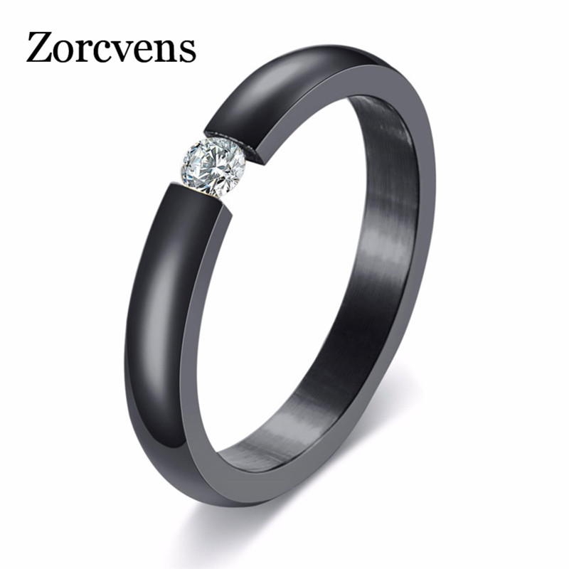 ZORCVENS 3mm Simple High Polished 4 Colors Stainless Steel Cubic Zirconia Stone Engagement Wedding Rings for Woman