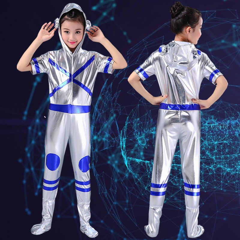 Childs Space Astronaut Dance Bodysuit Costume Blue Sliver Short Sleeve Stage Jumpsuit Boys Rompers Girls Modern Dance Costume