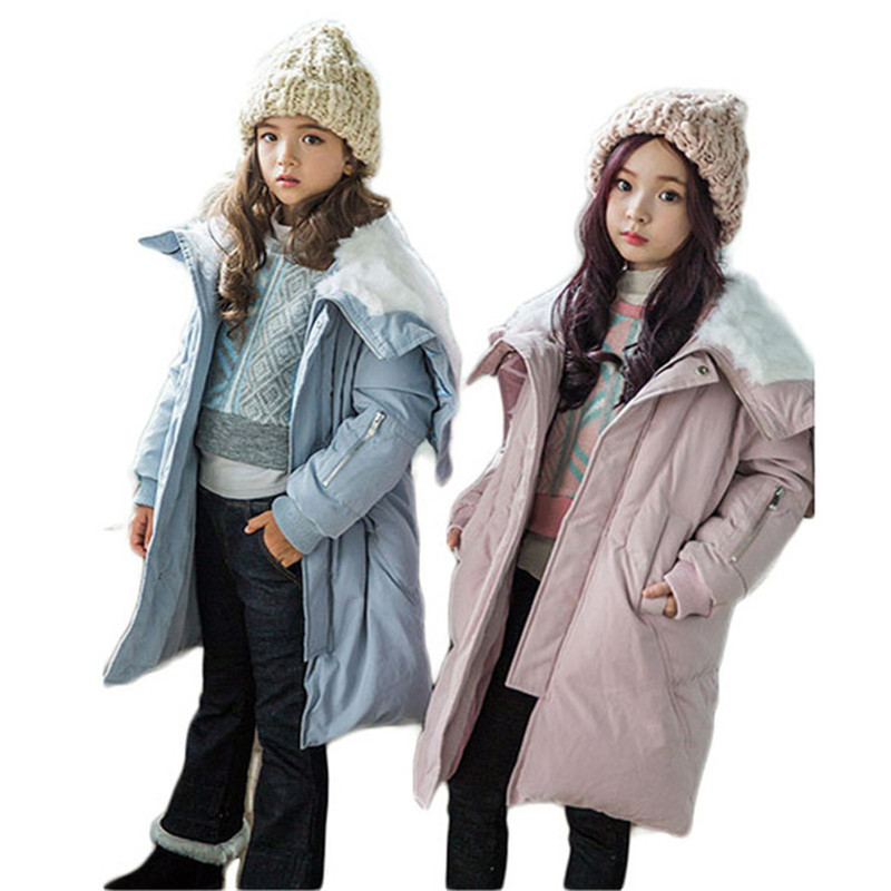 New Winter Children Girls Hooded Jackets Outerwear Kids Long Cotton-Padded Coats Baby Thick Warm Overcoats Children Clothing G12 цена