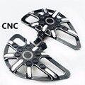 Negro + Chrome CNC corte Piso Pedal trasero estriberas Fit Para Harley Softail Dyna Sportster 883 1200 Touring