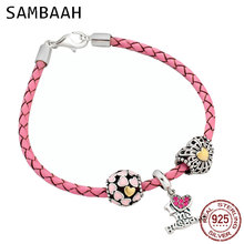 купить Sambaah 3mm Chain Italian Braided Leather Bracelet with 925 Sterling Silver I love My Husband Beads for Valentine's Day Bracelet дешево