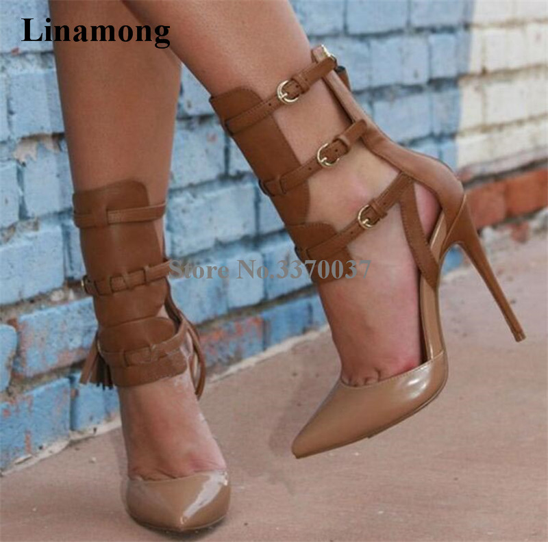 Women Fashion Pointed Toe Brown Patent Leather Gladiator Pumps Cut out Ankle Strap High Heels Knight