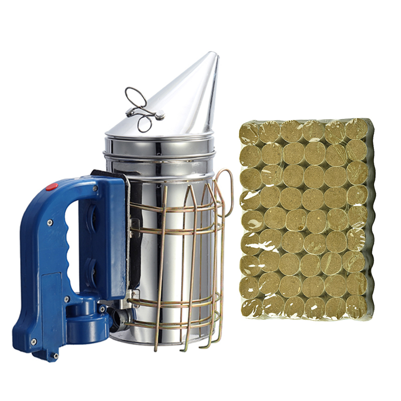 DLKKLB Beekeeping Set Electr Hive Smoker Stainless Steel +54pcs/bag Effeciency Wormwood Burning Pellet Beekeeping Tool Equipment