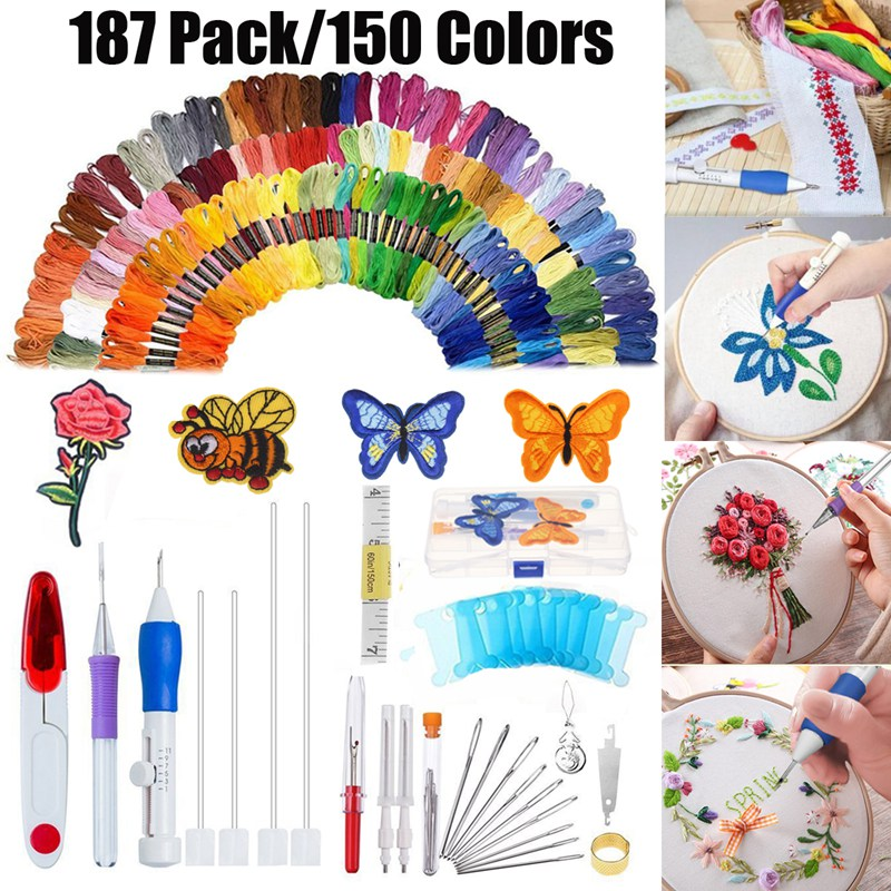 KiWarm 187 In 1 Magic DIY Embroidery Needle Pen Knitting Sewing Tool Kit w/150 Threads Plastic+Steel DIY Handmade Embroidery