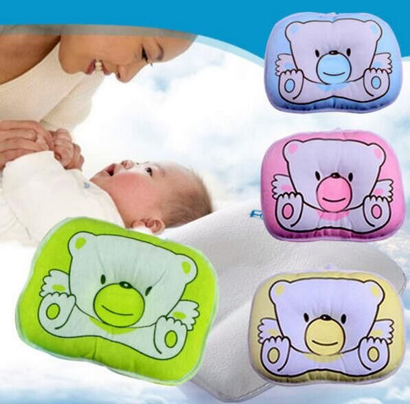 Hot Sales! Soft Baby Infant Bedding Bear Print Oval Shape 100% Cotton Baby Shaping Pillow High Quality 1PCS Free Delivery #33