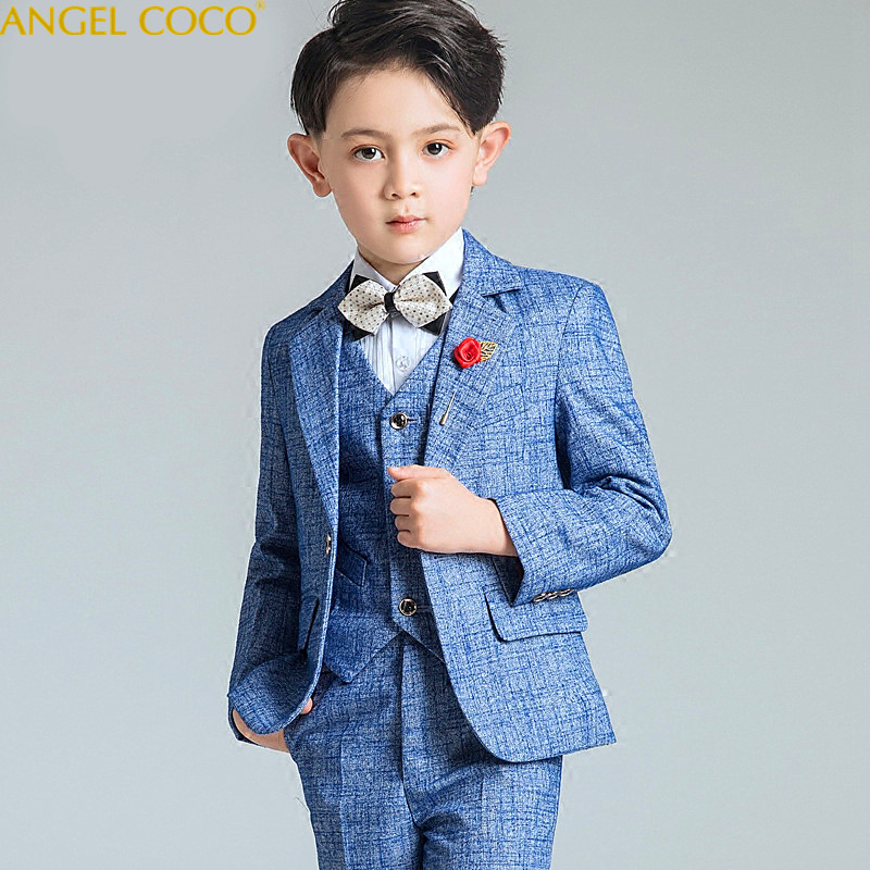 Big Boys Blazer Suits for Weddings Children Jacket+Vest+Tie+Pants Costume for Marriage Kids Formal Blazer Clothes Terno Infantil blazer georgede blazer