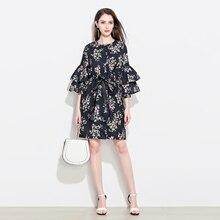 dc225e60421 Marina Kaneva Women Floral Print Summer Elegant Flare Sleeve Dresses  Vestidos