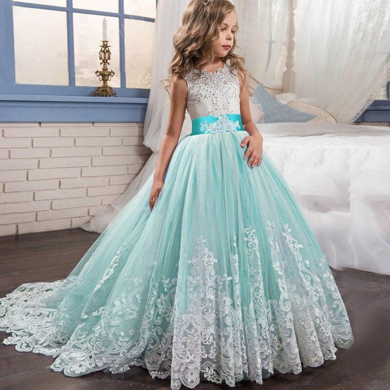 Flower Girl Wedding Evening Long Party Dresses Kids Dresses For Girls Princess Dress Teenage Dress 7 8 9 10 12 14 Year Vestidos Платье