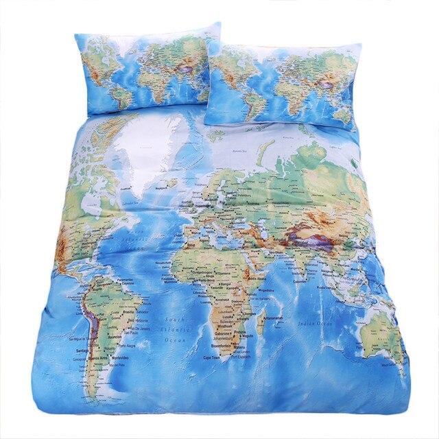Online shop beddingoutlet world map bedding set vivid printed blue beddingoutlet world map bedding set vivid printed blue bed duvet cover with pillowcases soft microfiber home textiles uk size gumiabroncs Images