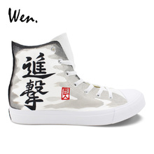 Wen Design Hand Painted Anime Shoes Attack on Titan High Top White Canvas  Unisex Sneakers Boy Skateboard Shoes Sport c71e52080f8f