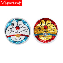 VIPOINT embroidery Sequins big Minions patches cartoon badges applique for clothing ZM-66