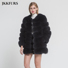 Women's Winter Warm Thick Real Fox Fur Coat 7 Rows Natural G