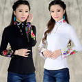 Chinese style shirt women's 2017 autumn spring ethnic black white stand collar embroidered t-shirt female long-sleeve top blusa