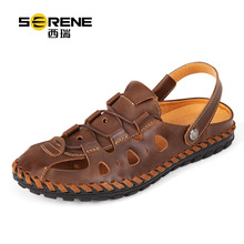 New Soft split Leather Beach Sandals for Men Breathable Summer Shoes Male Retro Sewing Classics Slippers for Men