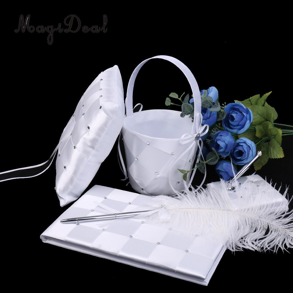MagiDeal ensemble de mariage livre d'invité et stylo anneau porteur oreiller fleur fille panier décor