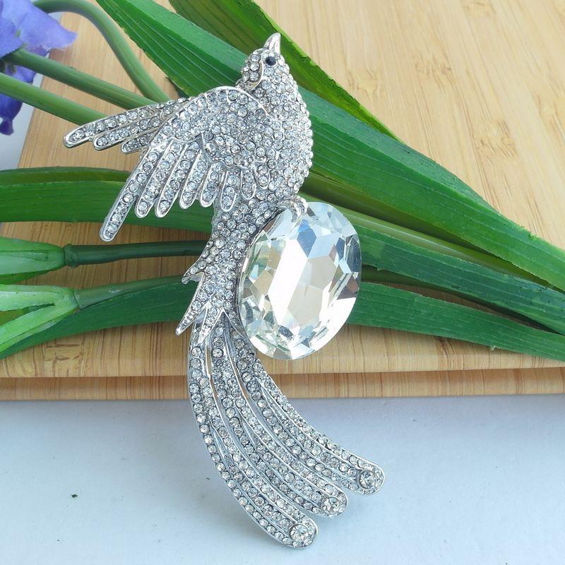 Серебристые Стразы Кристалл Брошь Феникс булавка, стразы брошь в виде животного, брошь с кристаллами для шарфа, украшения в стиле АР-деко-EE06506C1