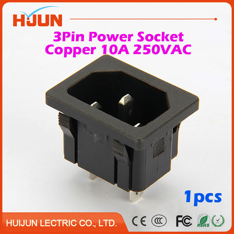 1Pcs High Quality 3 Pin Male Safe Power Socket Copper Inlet Connector Plug 10A 250V AC Computer Apparatus