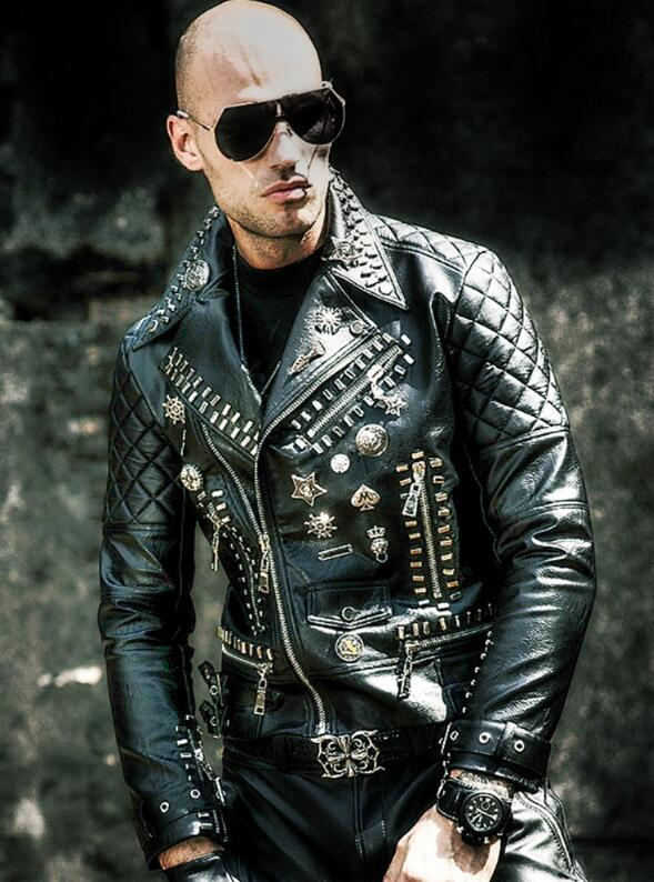 Motorcycle leather men s tide hip hop rivet punk lapel leather jacket trend Korean version of Motorcycle leather men's tide hip hop rivet punk lapel leather jacket trend Korean version of the diagonal zipper handsome