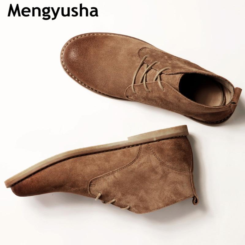 Classique en cuir véritable outillage bottes crazy horse cuir martin bottes hommes mode désert bottes populaires haut en cuir chaussures