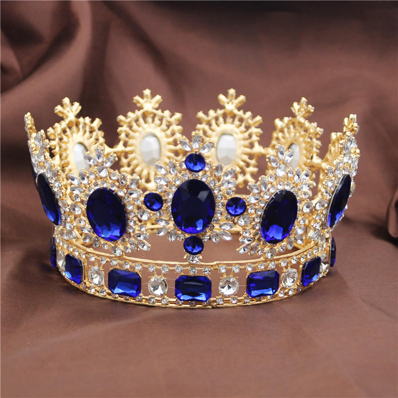 Big Metal Crystal Gold Round Royal Queen King Tiaras and Crowns for Women Pageant Wedding Hair Jewelry AccessoriesBig Metal Crystal Gold Round Royal Queen King Tiaras and Crowns for Women Pageant Wedding Hair Jewelry Accessories