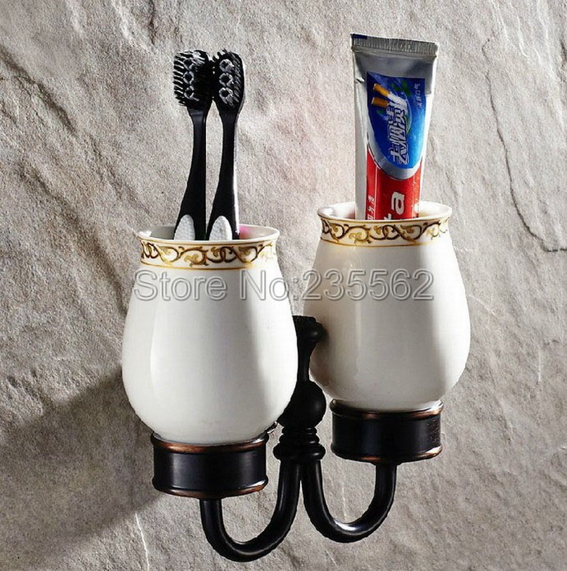 Black oil rubbed brass wall mounted toothbrush holders - Wall mounted ceramic bathroom accessories ...