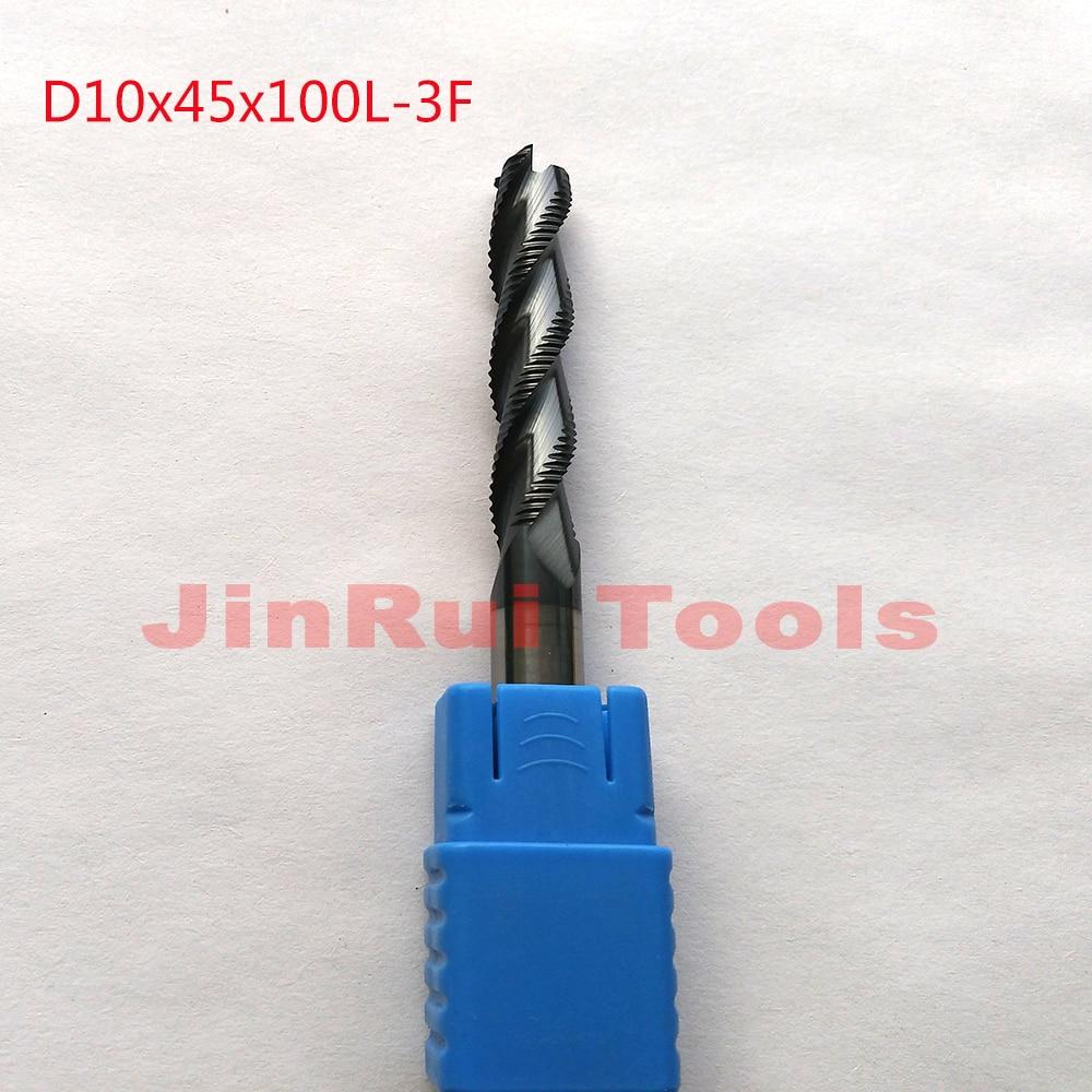 1pc 10mm D10*45*D10*100 HRC45 3 Flutes Solide Carbide Roughing End Mills CNC router bit milling cutter Tools knife fresa 1pc 10mm gm 4e d10 0 original zcc ct carbide 4 flutes flat end mills d10 25 d10 75