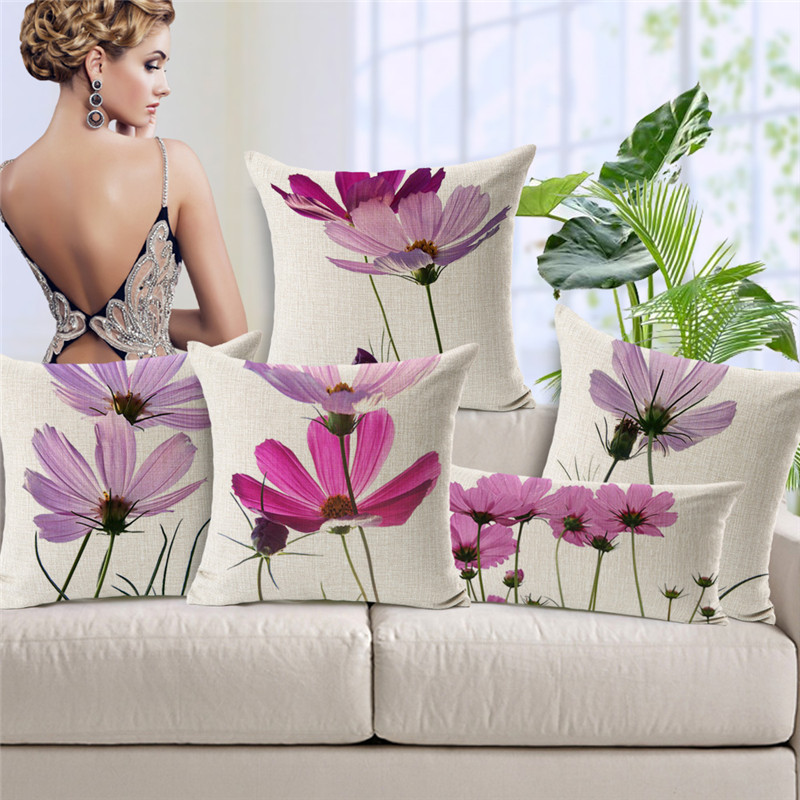 Pastoral Pink Purple Floral Flower Cushion Cover Pillow Case Home Decorative Couch Sofa Throw Linen Cotton Cushions Covers
