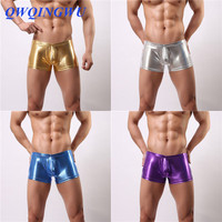4PCS/Lot Boxers Men Sexy Underwear Faux Leather Latex Boxer Shorts Elastic Convex Pouch Stretchable Undershorts Panties Boxers