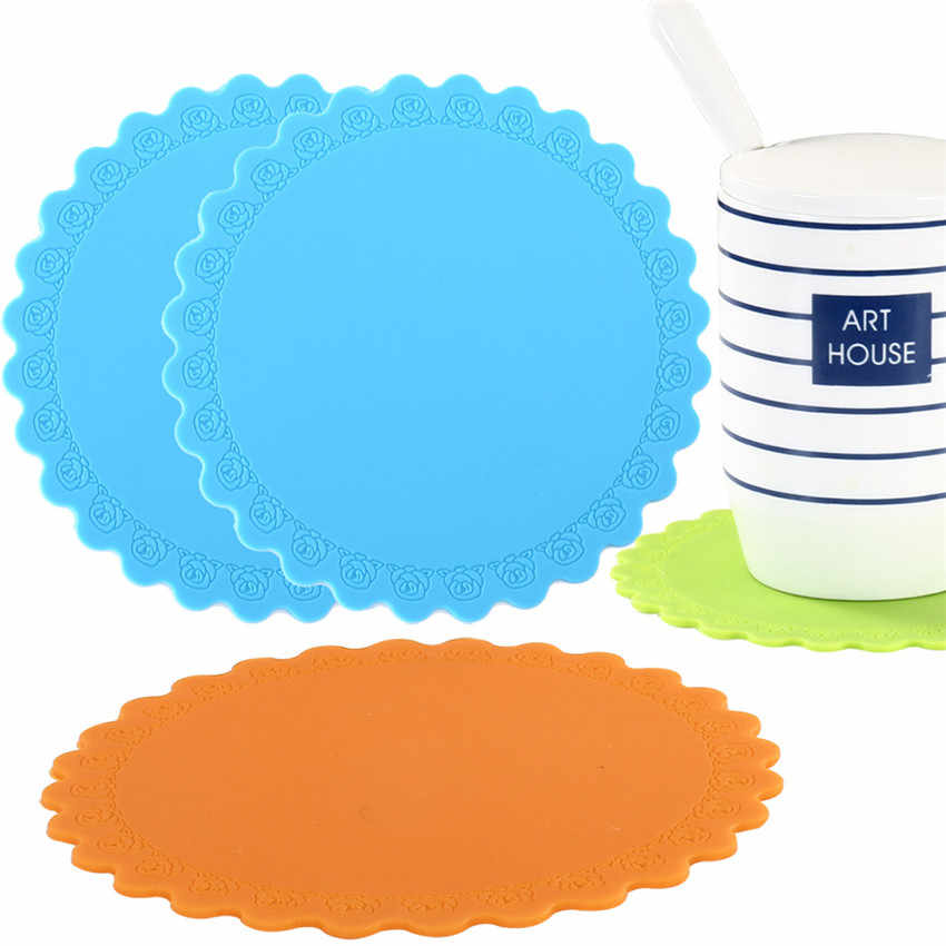 2PCS Silicone Dining Table Placemat Round Coaster Kitchen Accessories Mat Cup Bar Mug Rose Flower Shape Drink Pads