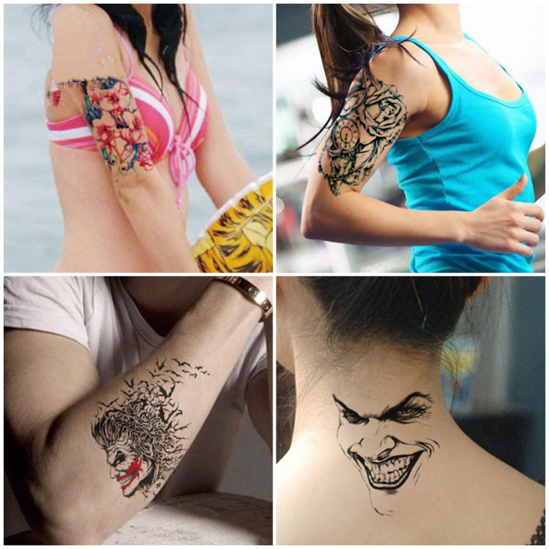 KESMALL 5PC Temporary Tattoo Stickers Body Art Halloween Women Gun Watch Arm Wrist Tatoos Sticker Waterproof Fake Tattoos CO567 ...