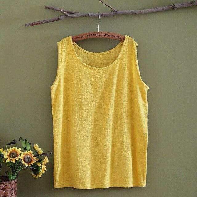 Solid Sleeveless Linen Women Tank Top Loose Casual O-neck Summer Tank top Women Brand Design White Yellow Tanks Shirt Tops 5013