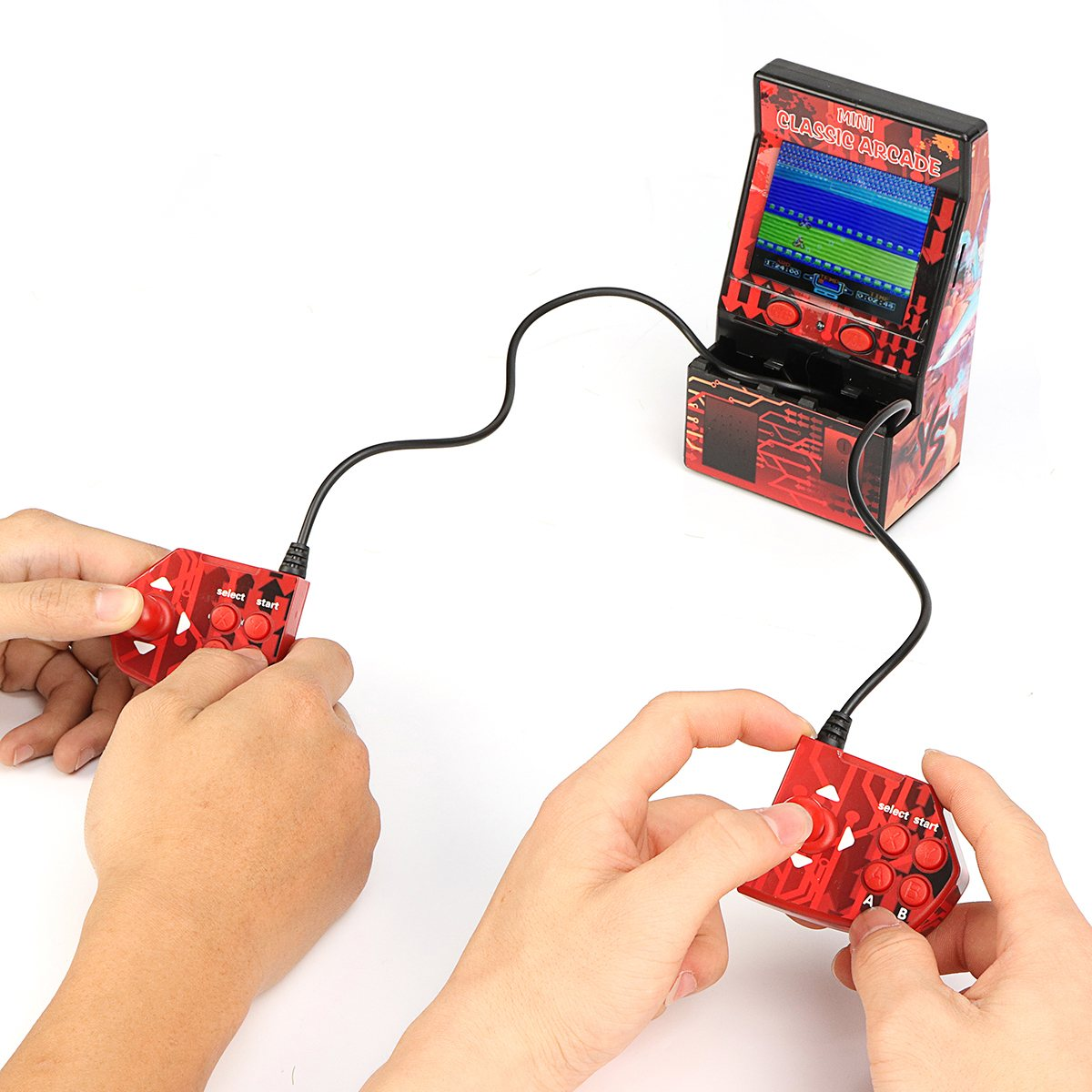 183 en 1 Mini Console de jeu Double tenue dans la main dispositif de jeux Style rétro Mini classique Arcade Machine Support TF carte