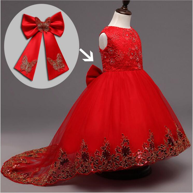 Girls Party Dresses Kids Embroidered Sequin Costume With Bow Elegant  Infant Princess Wedding Party Evening Christmas Vestido ywhuansen sequin embroidered carnival costume sexy children images bowknot princess dress girl organza evening dresses layered