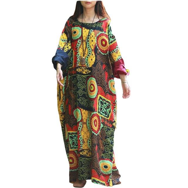 210e491435 2016 Women Casual Loose Print Regular O-Neck Full Sleeve Spring Autumn Dress  .Female