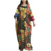 Spring Autumn Style Casual Dress Women Batwing Sleeve Plus Size Robe Long Loose Cotton Linen Women