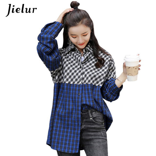 Jielur Fall Plaid Women's Shirt Spell Color Long Sleeve Casual Female Tops Blouses Vintage Loose Shirts Vogue Blusa Femme S-XXL