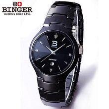 Famosa Marca hot sale genuine Binger relógio de Ouro mesa moda aço de tungstênio mens business casual quartz relógio de pulso à prova d' água