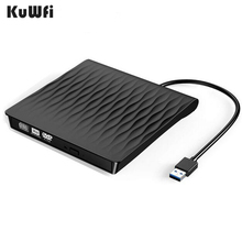 KuWFi External CD DVD Drive USB 3.0 Type C Port Slim Portable Burner High Speed Data Transfer Optical Drives