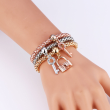 L&H 3PCS/Set New Arrival Rhinestone Bracelets Set Lovely Key and Lock Bracelet For Women Bohemia Style Vintage Bangles