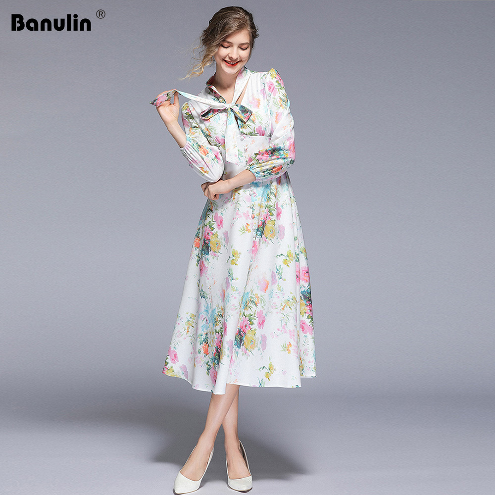 Banulin NEW Vintage Woman Spring Maxi Dress Bow V-Neck Female Print Long Dress Lady Runway Dress Robe Longue Femme B5413