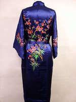 חמה למכירה של נשים כחול כהה סיני רקמת קימונו חלוק סאטן משי פרח שמלת אמבטיה פיג 'מה Sml XL XXL XXXL Mujeres MR-022