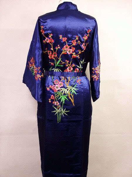Hot Sale Navy Blue Chinese Womens Silk Satin Robe Embroidery Kimono bath Gown Flower S M L XL XXL XXXL Mujeres Pijama MR-022