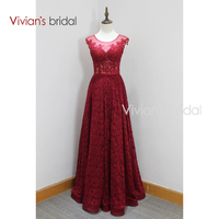 Red Long Lace Evening Dresses Beaded Floor Length A Line Elegant Formal Evening Gowns