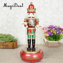 MagiDeal Wooden Nutcracker Drummer Music Box Kids