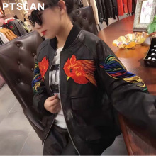 Ptslan New Fashion Sheep Skin Real Leather Women Jackets Floral Genuine Leather Jacket Womens Casual Coats Female Bomber Jackets