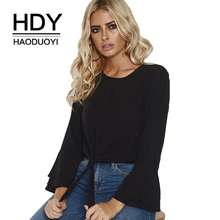 HDY Haoduoyi Simple Temperament Elegant Sweet Chic Round Neck Solid Lotus Leaf Sleeve Chiffon Shirt Blouse Women Autumn New chic round neck raglan sleeve feather print blouse for women
