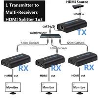 1x3 HDMI сплиттер Extender 1 отправителя к 3 приемника по Lan Ethernet Switch cat5 cat6 cat5e по RJ45 Поддержка dvd проектор HDMI