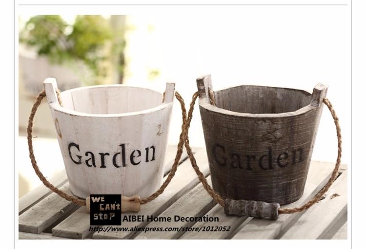 Pastoral Style Wood Flower Tub 1PC Zakka Succulents Nursery Flower Pots Planters Home Garden Hanging Baskets 2