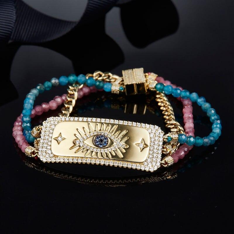 SLJELY 925 Sterling Silver Zircon Golden Pop Lucky Eye Bracelet Pink Blue Beads Three Layer Chains