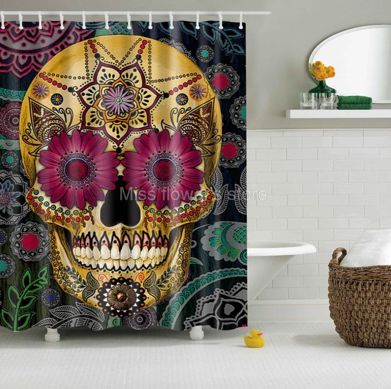 Cartoon Colored Skull Design Custom Shower Curtain Bathroom Waterproof  Mildewproof Polyester Fabric With 12 Hooks Multi. Popular Skull Window Curtains Buy Cheap Skull Window Curtains lots